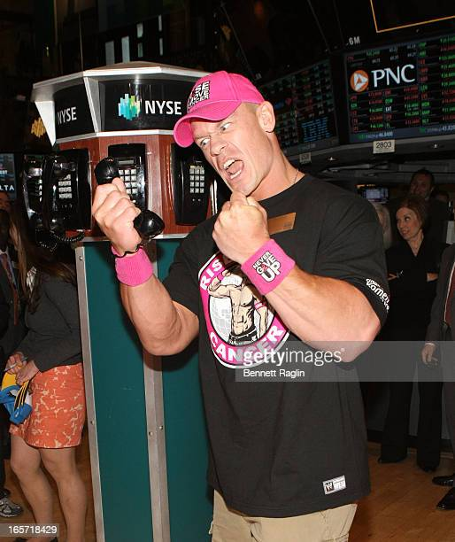 Actor John Cena rings the closing bell at the New York Stock Exchange on April 5 2013 in New York City