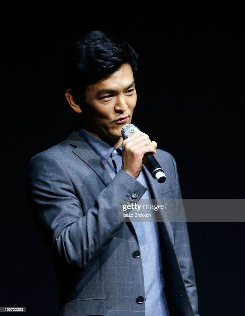 Actor John Cho speaks at a Paramount Pictures presentation to promote his upcoming film, 'Star Trek Into Darkness' during CinemaCon at The Colosseum at Caesars Palace on April 15, 2013 in Las Vegas, Nevada.