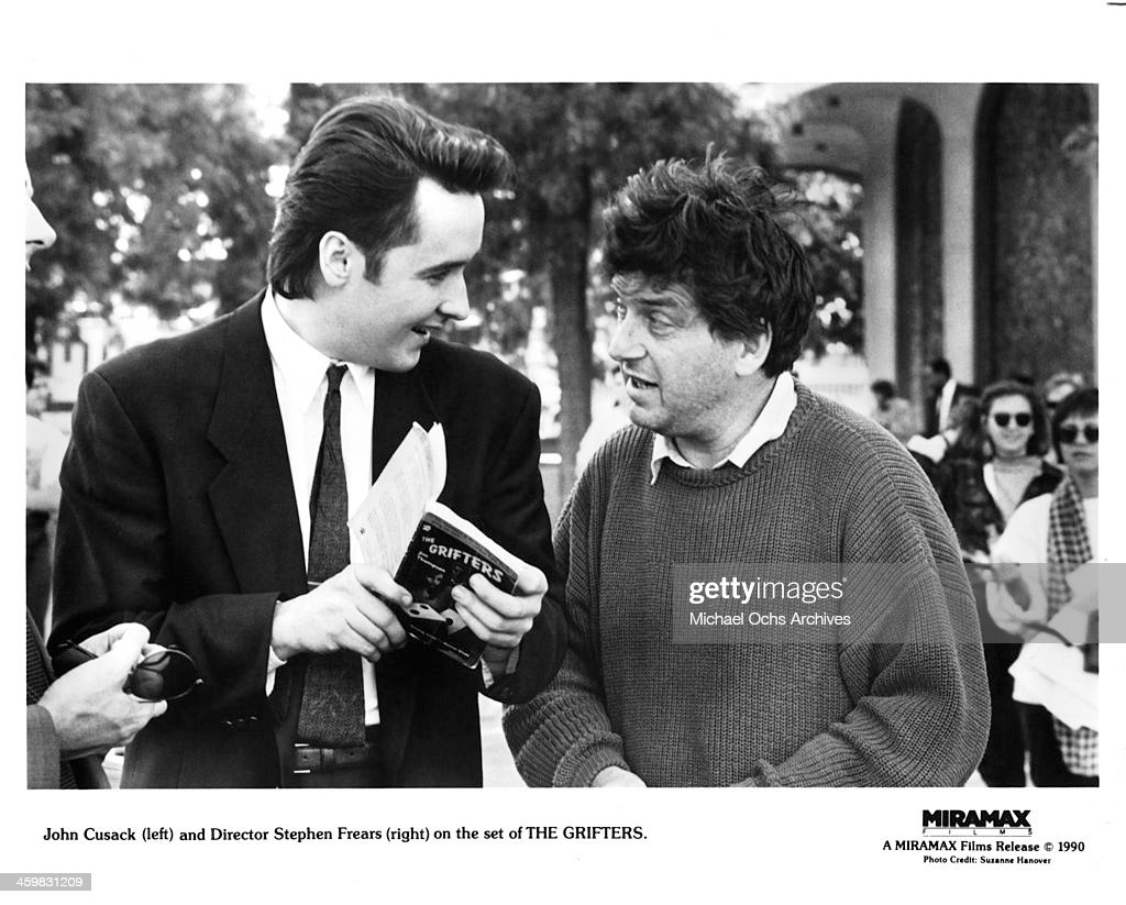 Actor John Cusack and director Stephen Frears on set of the movie 'The Grifters ' circa 1990