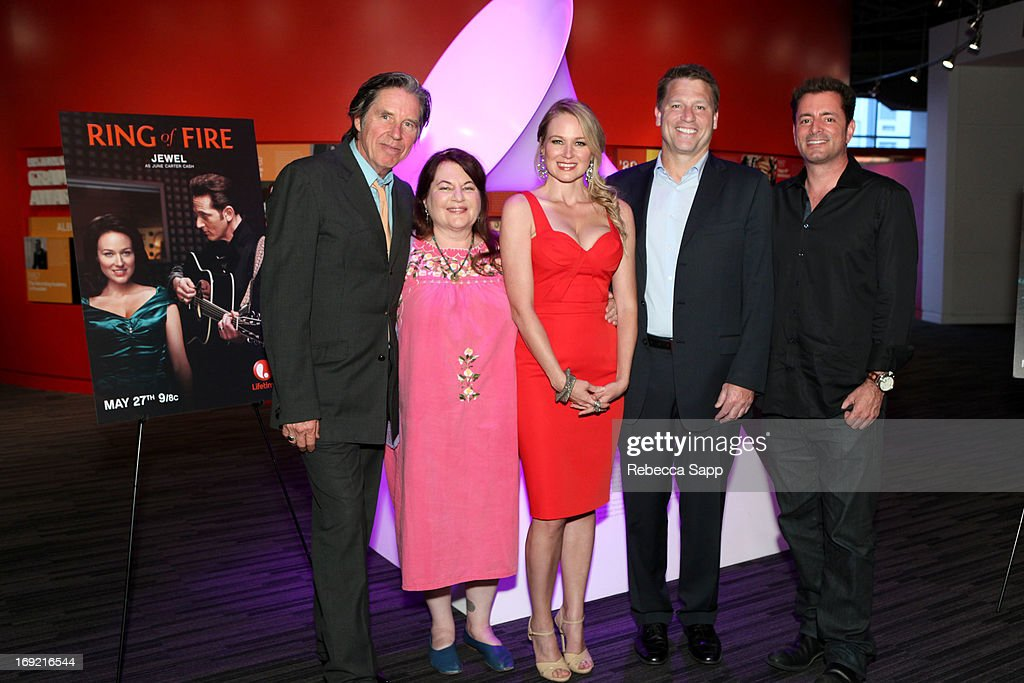 Actor John Doe, director Allison Anders, singer Jewel, Executive producer/COO Asylum Jonathan Koch and Executive producer/CEO Steve Michaels at Reel to Reel: Ring of Fire with Jewel at The GRAMMY Museum on May 21, 2013 in Los Angeles, California.