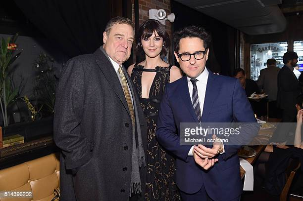 Actor John Goodman actress Mary Elizabeth Winstead and producer JJ Abrams attend the '10 Cloverfield Lane' New York Premiere after party at the...