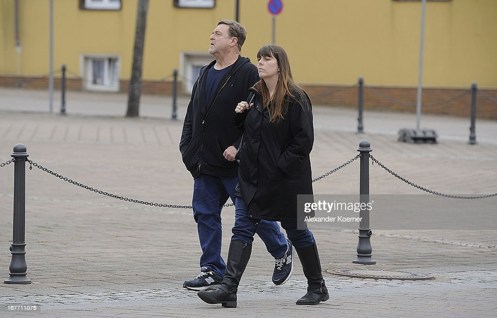 Actor John Goodman and his wife Annabeth Hartzog are seen walking through the city of Ilsenburg on April 28, 2013 in Ilsenburg near Goslar, Germany. Actor and direcor George Clooney shoots his current project 'The Monuments Men' on several locations in the state of Lower Saxony and around Germany.