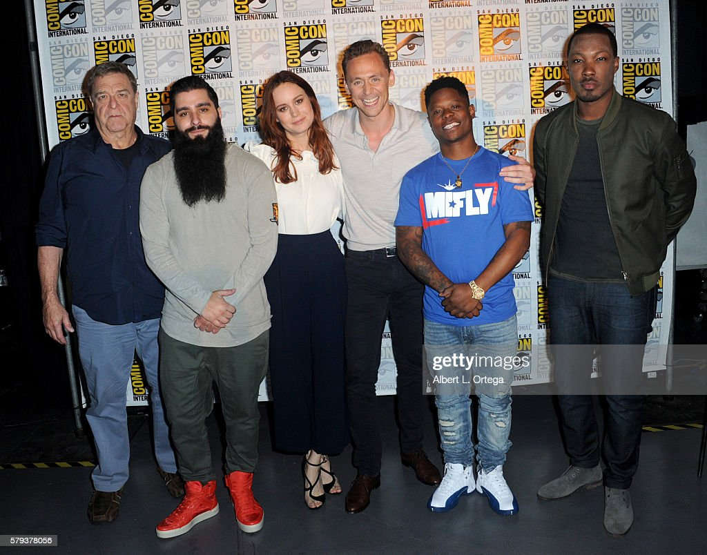 Actor John Goodman, director Jordan Vogt-Roberts, actors Brie Larson, Tom Hiddleston, Jason Mitchell, and Corey Hawkins of 'Kong: Skull Island' attend the Warner Bros. Presentation during Comic-Con International 2016 at San Diego Convention Center on July 23, 2016 in San Diego, California.