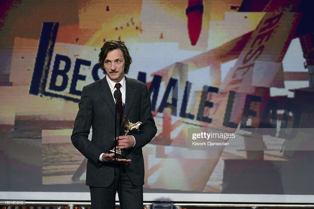Actor <a gi-track='captionPersonalityLinkClicked' href=/galleries/search?phrase=John+Hawkes+-+Actor&family=editorial&specificpeople=224944 ng-click='$event.stopPropagation()'>John Hawkes</a> accepts the award for Best Male Lead onstage during the 2013 Film Independent Spirit Awards at Santa Monica Beach on February 23, 2013 in Santa Monica, California.