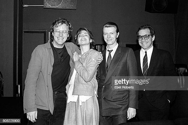 Actor John Heard actress Nastassja Kinski David Bowie and director Paul Schrader at a private screening of Paul's movie 'Cat People' which stars...