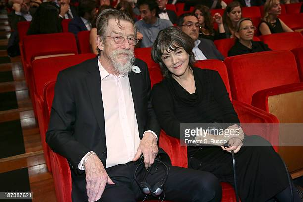Actor John Hurt and his wife Ann Rees Meyers attend the Opening Ceremony Inside during The 8th Rome Film Festival on November 8 2013