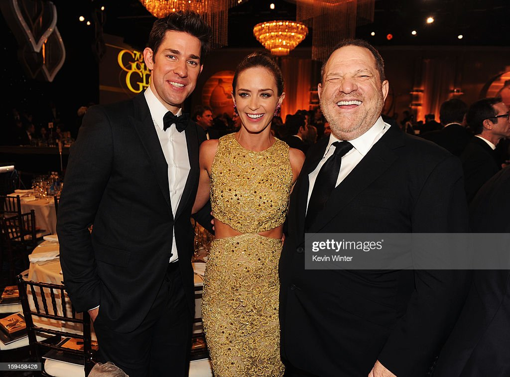 Actor John Krasinksi, actress Emily Blunt and producer Harvey Weinstein attend the 70th Annual Golden Globe Awards Cocktail Party held at The Beverly Hilton Hotel on January 13, 2013 in Beverly Hills, California.
