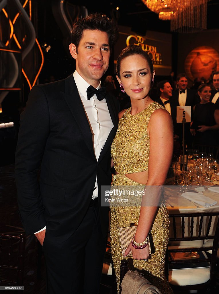 Actor John Krasinksi (L) and actress Emily Blunt attend the 70th Annual Golden Globe Awards Cocktail Party held at The Beverly Hilton Hotel on January 13, 2013 in Beverly Hills, California.