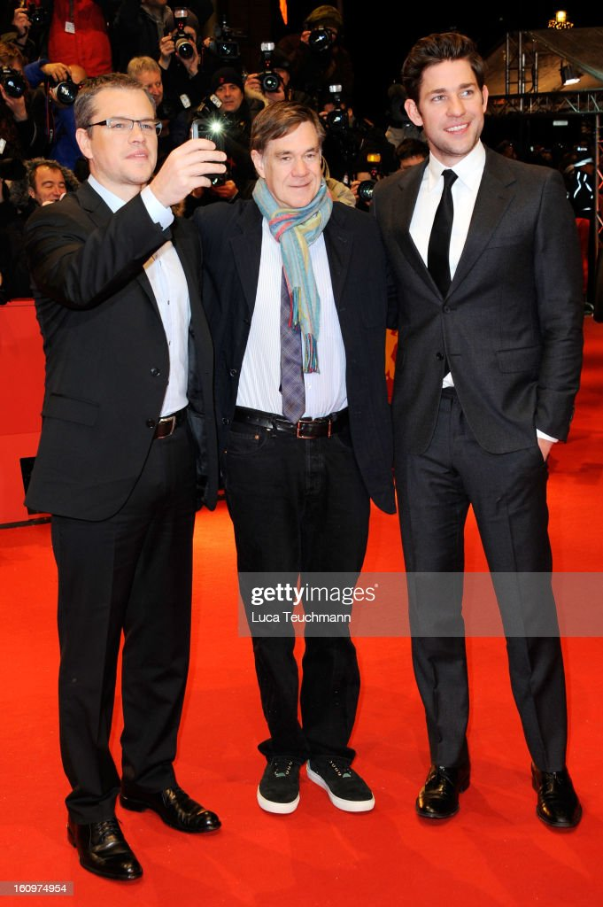 Actor John Krasinski, actor Matt Damon and Director Gus Van Sant attend 'Promised Land' Premiere during the 63rd Berlinale International Film Festival at Berlinale Palast on February 8, 2013 in Berlin, Germany.
