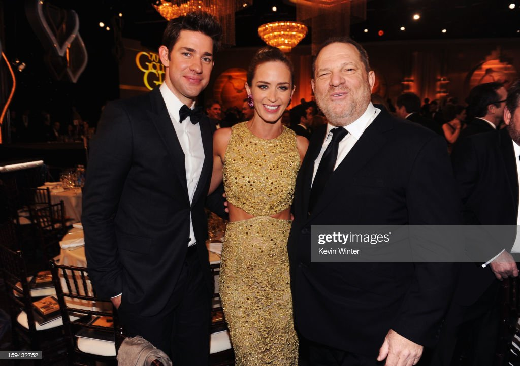 Actor <a gi-track='captionPersonalityLinkClicked' href=/galleries/search?phrase=John+Krasinski&family=editorial&specificpeople=646194 ng-click='$event.stopPropagation()'>John Krasinski</a>, actress <a gi-track='captionPersonalityLinkClicked' href=/galleries/search?phrase=Emily+Blunt&family=editorial&specificpeople=213480 ng-click='$event.stopPropagation()'>Emily Blunt</a> and producer <a gi-track='captionPersonalityLinkClicked' href=/galleries/search?phrase=Harvey+Weinstein&family=editorial&specificpeople=201749 ng-click='$event.stopPropagation()'>Harvey Weinstein</a> attend the 70th Annual Golden Globe Awards Cocktail Party held at The Beverly Hilton Hotel on January 13, 2013 in Beverly Hills, California.
