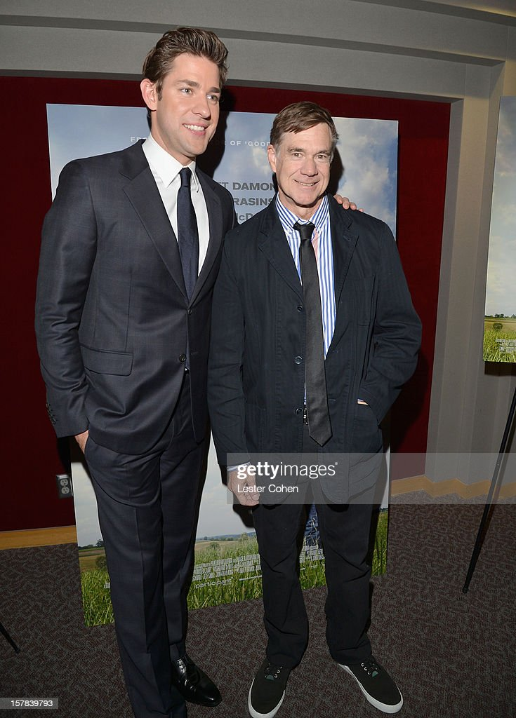 Actor John Krasinski (L) and director Gus Van Sant attend the ''Promised Land' Los Angeles premiere at Directors Guild Of America on December 6, 2012 in Los Angeles, California.