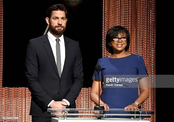 Actor John Krasinski and President of the Academy of Motion Picture Arts and Sciences Cheryl Boone Isaacs announce the nominees during the 88th...