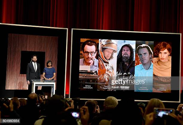 Actor John Krasinski and President of the Academy of Motion Picture Arts and Sciences Cheryl Boone Isaacs announce the nominees for Best Performance...