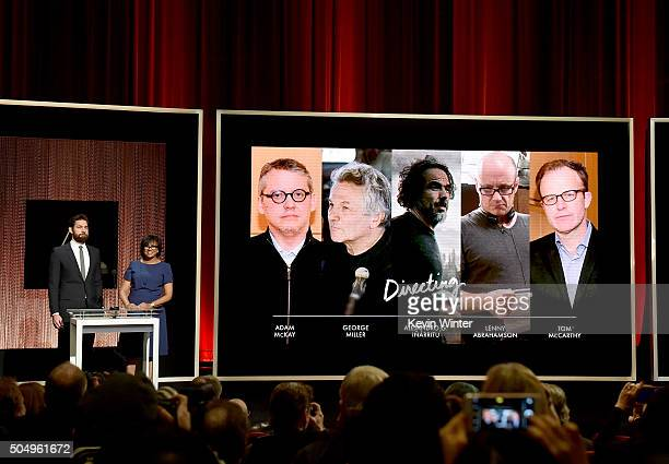 Actor John Krasinski and President of the Academy of Motion Picture Arts and Sciences Cheryl Boone Isaacs announce the nominees for Achievement in...