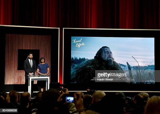 Actor John Krasinski and President of the Academy of Motion Picture Arts and Sciences Cheryl Boone Isaacs announce 'The Revenant' as a nominee for...