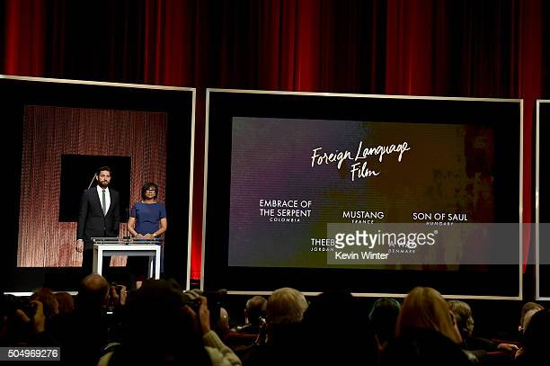 Actor John Krasinski and President of the Academy of Motion Picture Arts and Sciences Cheryl Boone Isaacs announce the nominees for Best...