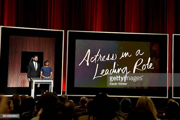 Actor John Krasinski and President of the Academy of Motion Picture Arts and Sciences Cheryl Boone Isaacs announce the nominees for Best Actress in a...