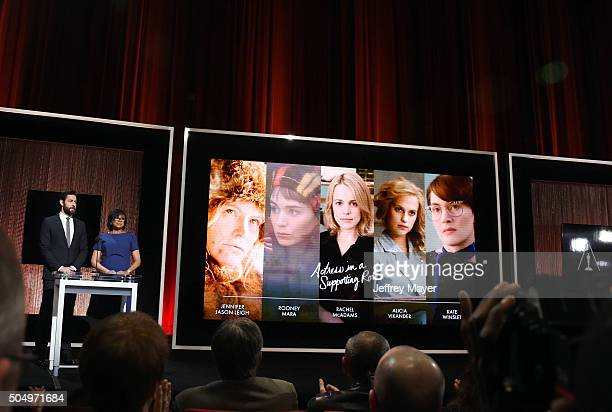 Actor John Krasinski and President of the Academy of Motion Picture Arts and Sciences Cheryl Boone Isaac announce the nominees during the 88th Oscars...