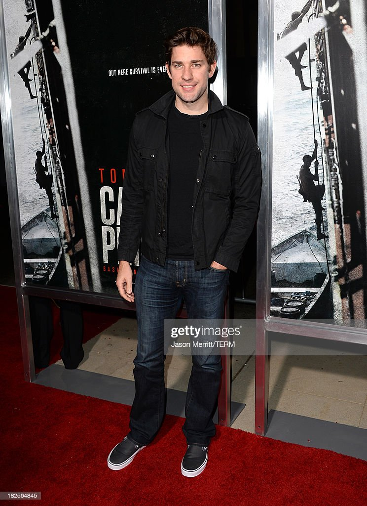 Actor John Krasinski attends the premiere of Columbia Pictures' 'Captain Phillips' at the Academy of Motion Picture Arts and Sciences on September 30, 2013 in Beverly Hills, California.