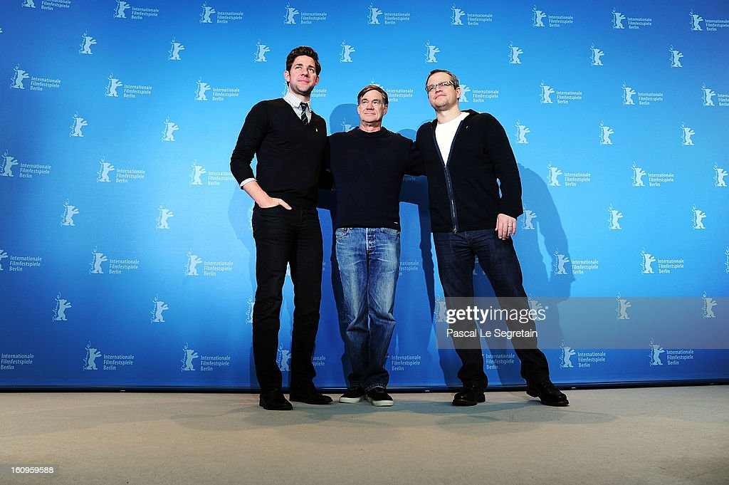 Actor <a gi-track='captionPersonalityLinkClicked' href=/galleries/search?phrase=John+Krasinski&family=editorial&specificpeople=646194 ng-click='$event.stopPropagation()'>John Krasinski</a>, Director <a gi-track='captionPersonalityLinkClicked' href=/galleries/search?phrase=Gus+Van+Sant&family=editorial&specificpeople=626229 ng-click='$event.stopPropagation()'>Gus Van Sant</a> and actor <a gi-track='captionPersonalityLinkClicked' href=/galleries/search?phrase=Matt+Damon&family=editorial&specificpeople=202093 ng-click='$event.stopPropagation()'>Matt Damon</a> attend 'Promised Land' Photocall during the 63rd Berlinale International Film Festival at Grand Hyatt on February 8, 2013 in Berlin, Germany.