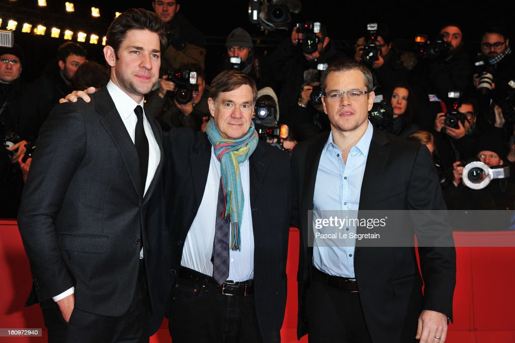 Actor John Krasinski, Director Gus Van Sant and actor Matt Damon attend 'Promised Land' Premiere during the 63rd Berlinale International Film Festival at Berlinale Palast on February 8, 2013 in Berlin, Germany.