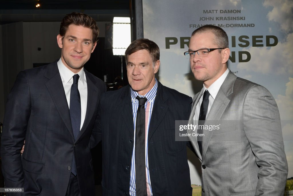 Actor John Krasinski, director Gus Van Sant and actor Matt Damon attend the ''Promised Land' Los Angeles premiere at Directors Guild Of America on December 6, 2012 in Los Angeles, California.