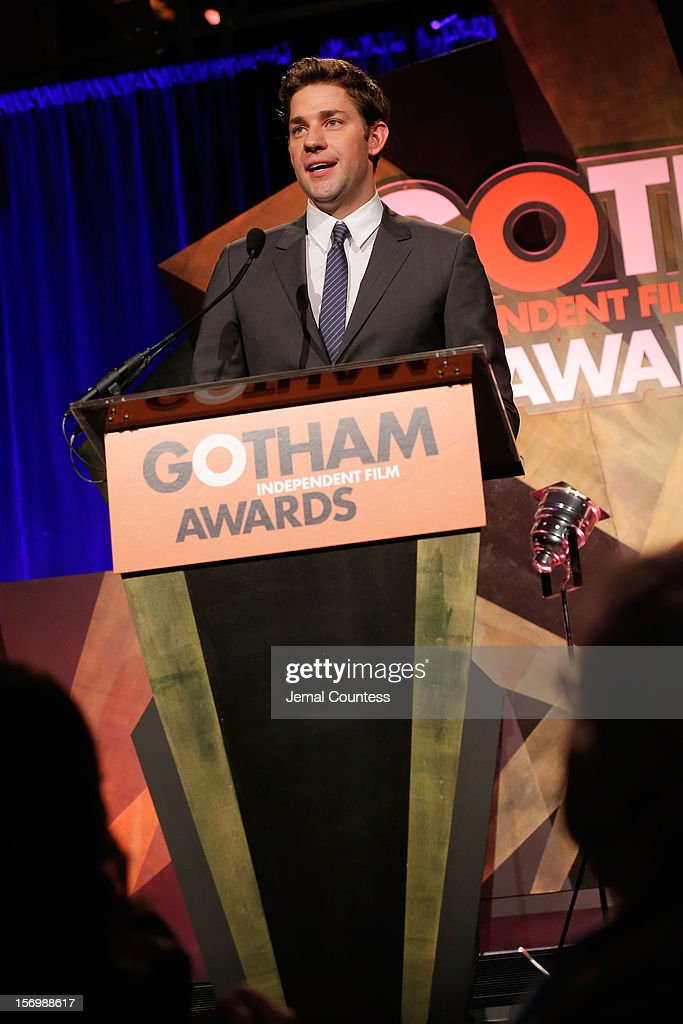 Actor <a gi-track='captionPersonalityLinkClicked' href=/galleries/search?phrase=John+Krasinski&family=editorial&specificpeople=646194 ng-click='$event.stopPropagation()'>John Krasinski</a> speaks onstage at the 22nd Annual Gotham Independent Film Awards at Cipriani Wall Street on November 26, 2012 in New York City.