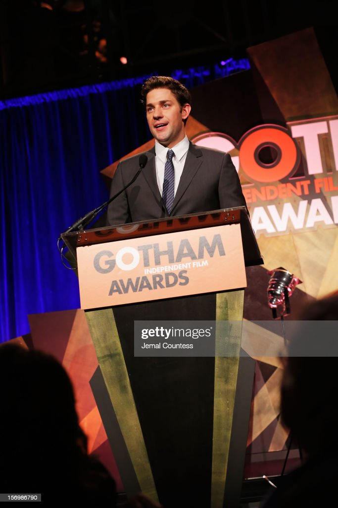 Actor <a gi-track='captionPersonalityLinkClicked' href=/galleries/search?phrase=John+Krasinski&family=editorial&specificpeople=646194 ng-click='$event.stopPropagation()'>John Krasinski</a> speaks onstage at the IFP's 22nd Annual Gotham Independent Film Awards at Cipriani Wall Street on November 26, 2012 in New York City.
