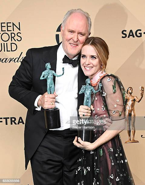 Actor John Lithgow winner of the Outstanding Performance by a Male Actor in a Drama Series award for 'The Crown' and actor Claire Foy winner of the...