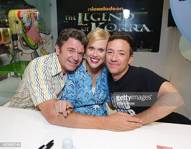 Actor John Michael Higgins and actress Janet Varney and actor David Faustino attend the Legend of Korra signing at the 2014 San Diego ComicCon...