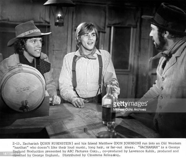 Actor John Rubinstein and Don Johnson on set of the movie 'Zachariah' in 1971