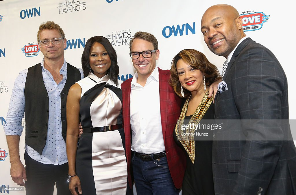 Actor John Schneider, actress Angela Robinson, Erik Logan, president of OWN and Harpo Studios, actress Kendra C. Johnson and actor Palmer Williams attend the OWN Press Lunch with Tyler Perry and the casts of 'The Haves and the Have Nots' and 'Love Thy Neighbor' on January 8, 2016 in New York City.