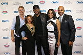 Actor John Schneider actress Kendra C Johnson director and producer Tyler Perry actress Angela Robinson and actor Palmer Williams attend the OWN...
