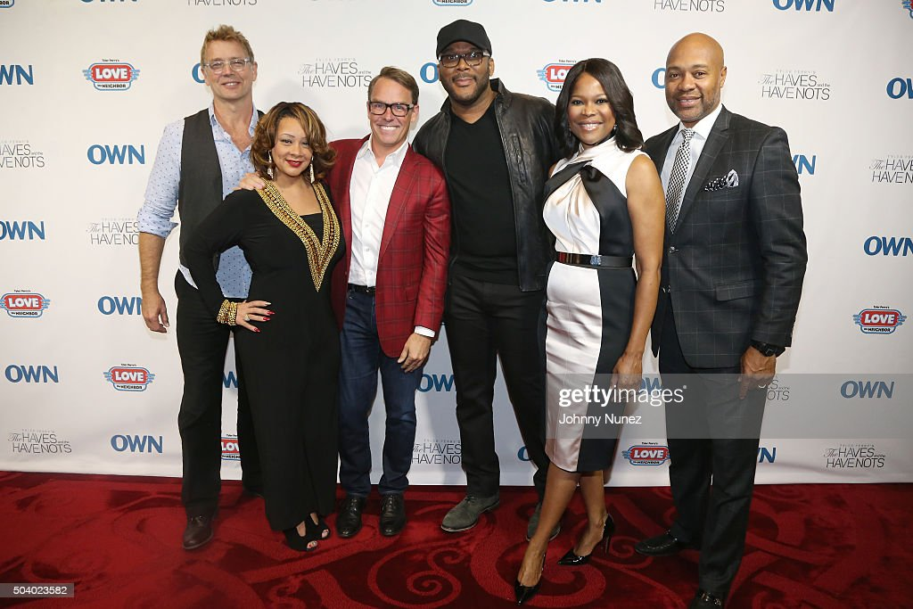 Actor John Schneider, actress Kendra C. Johnson, Erik Logan, president of OWN and Harpo Studios, director and producer Tyler Perry, actress Angela Robinson and actor Palmer Williams attend the OWN Press Lunch with Tyler Perry and the casts of 'The Haves and the Have Nots' and 'Love Thy Neighbor' on January 8, 2016 in New York City.
