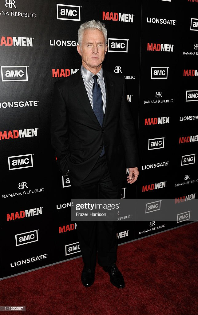 Actor <a gi-track='captionPersonalityLinkClicked' href=/galleries/search?phrase=John+Slattery&family=editorial&specificpeople=857095 ng-click='$event.stopPropagation()'>John Slattery</a> arrives at the Premiere of AMC's 'Mad Men' Season 5 at ArcLight Cinemas on March 14, 2012 in Hollywood, California.