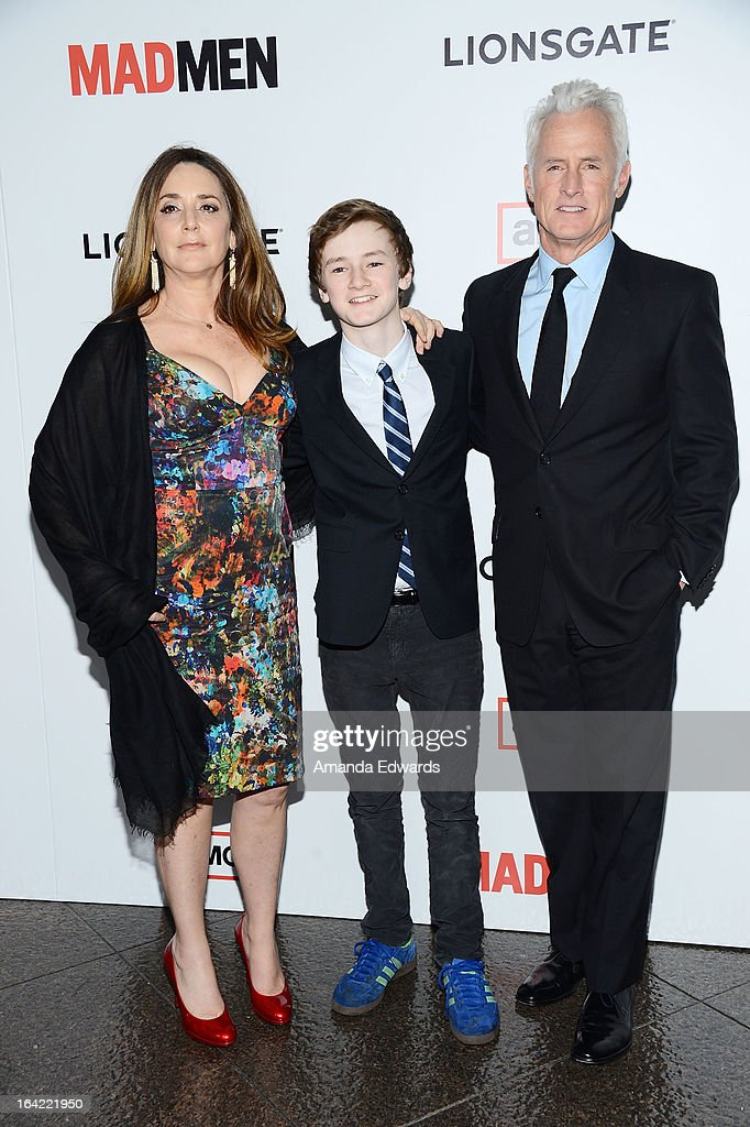 Actor John Slattery (R), his wife Talia Balsam (L) and their son Harry Slattery arrive at AMC's 'Mad Men' Season 6 Premiere at the DGA Theater on March 20, 2013 in Los Angeles, California.