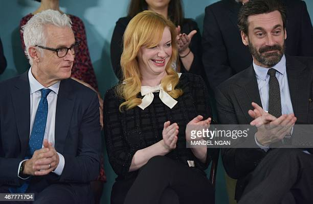 Actor John Slattery who plays the character 'Roger Sterling' in the AMC television series 'Mad Men' actress Christina Hendricks who plays the...