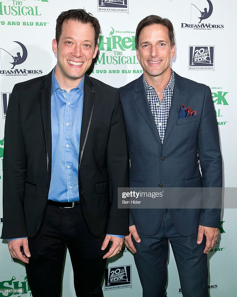 Actor <a gi-track='captionPersonalityLinkClicked' href=/galleries/search?phrase=John+Tartaglia&family=editorial&specificpeople=214593 ng-click='$event.stopPropagation()'>John Tartaglia</a> and Producer Bill Damaschke attend the release party for 'Shrek: The Musical' Blue-Ray and DVD on October 15, 2013 in New York, United States.
