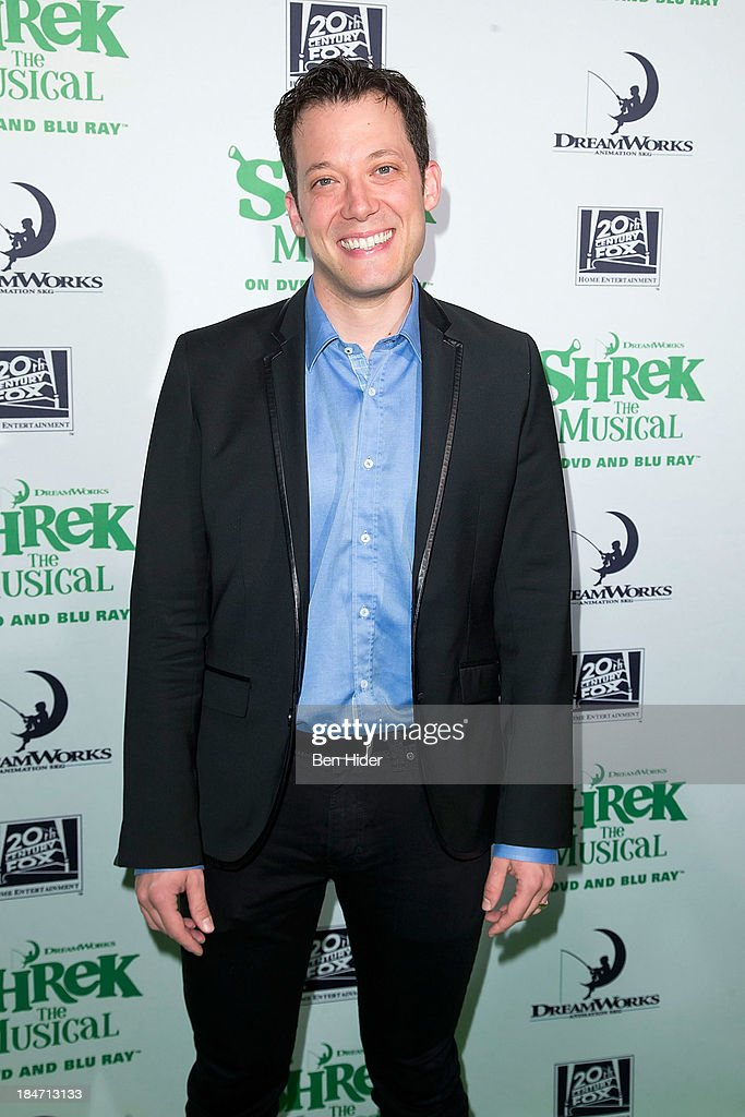 Actor <a gi-track='captionPersonalityLinkClicked' href=/galleries/search?phrase=John+Tartaglia&family=editorial&specificpeople=214593 ng-click='$event.stopPropagation()'>John Tartaglia</a> attends the release party for 'Shrek: The Musical' Blue-Ray and DVD on October 15, 2013 in New York, United States.