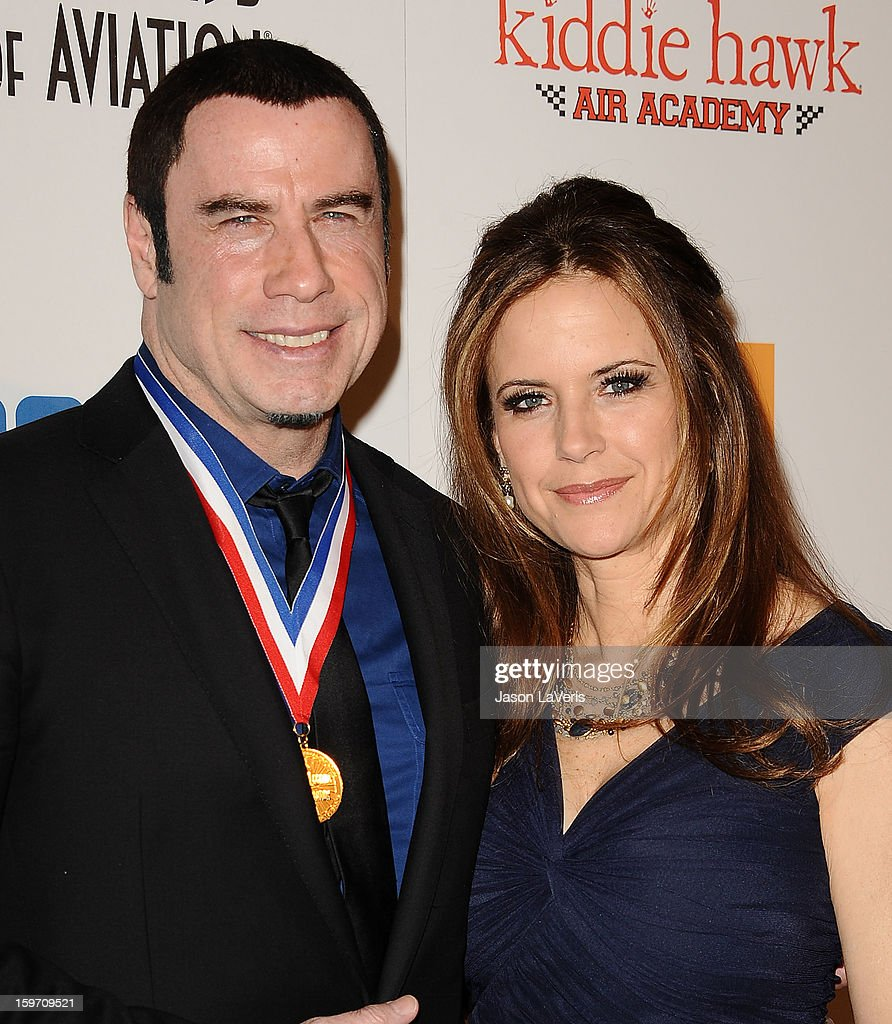 Actor John Travolta and actress Kelly Preston attend the Living Legends of Aviation Awards at The Beverly Hilton Hotel on January 18, 2013 in Beverly Hills, California.
