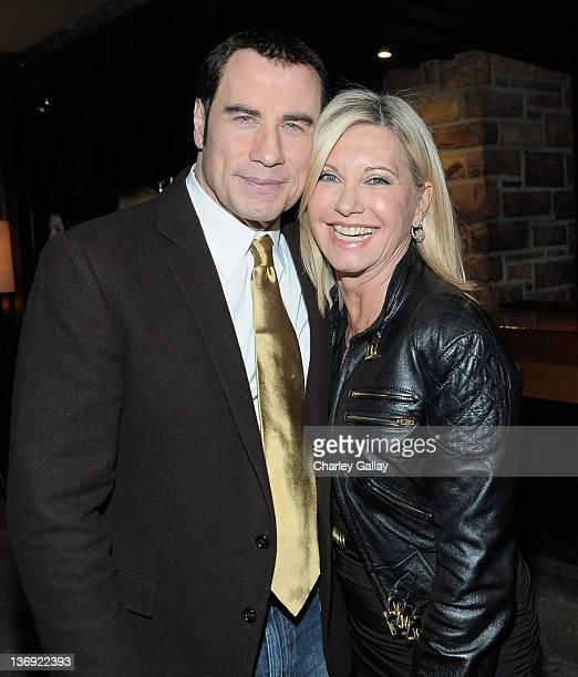 Actor John Travolta and actress Olivia NewtonJohn attend the Qantas Airways Spirit of Australia Party at the Hollywood Roosevelt Hotel on January 12...