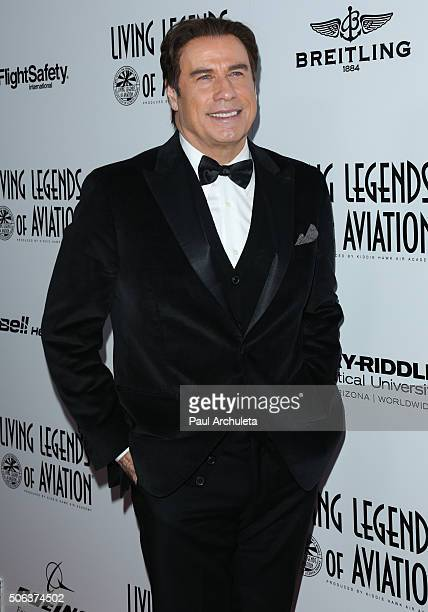 Actor John Travolta attends the 13th Annual Living Legends Of Aviation Awards at The Beverly Hilton Hotel on January 22 2016 in Beverly Hills...
