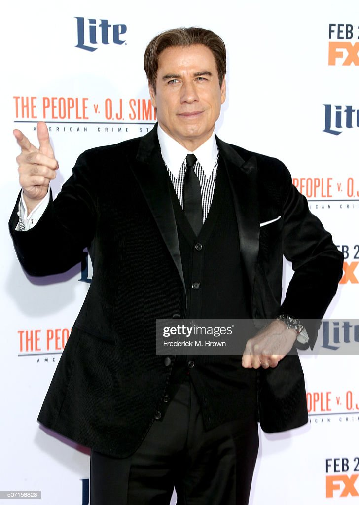 Actor <a gi-track='captionPersonalityLinkClicked' href=/galleries/search?phrase=John+Travolta&family=editorial&specificpeople=178204 ng-click='$event.stopPropagation()'>John Travolta</a> attends the premiere of FX's American Crime Story - The People V. O.J. Simpson at Westwood Village Theatre on January 27, 2016 in Westwood, California.