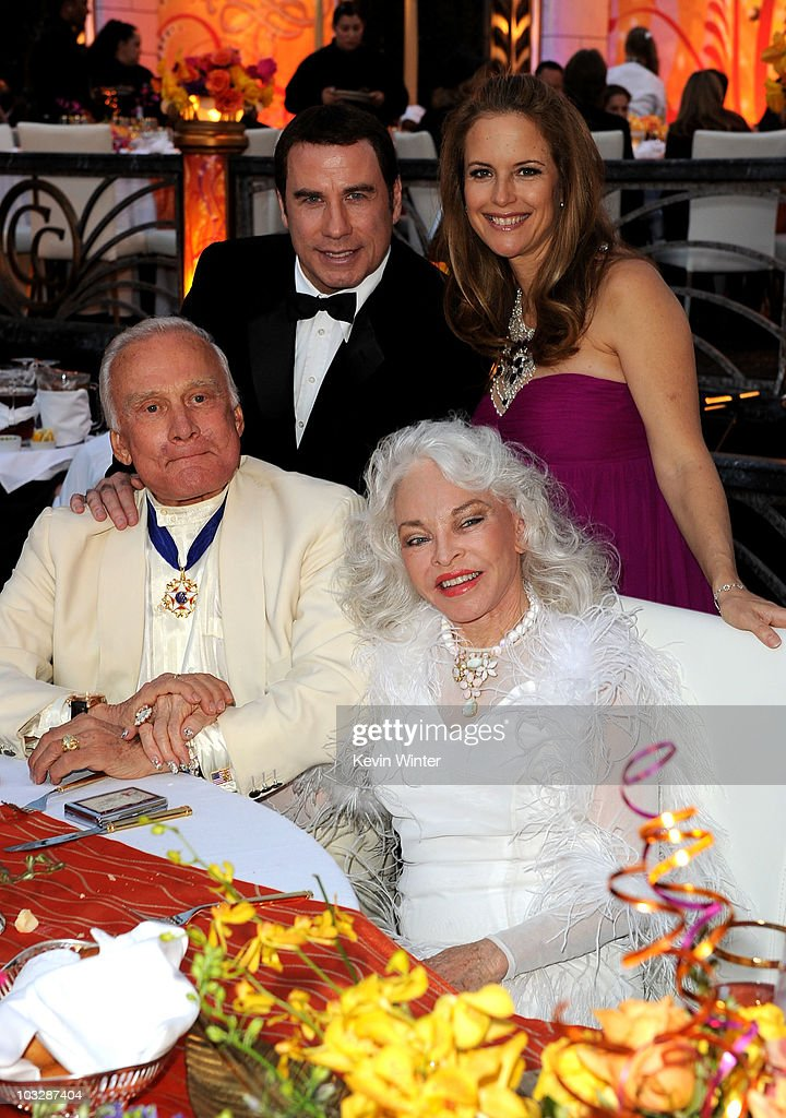 Actor John Travolta wife actress Kelly Preston astronaut Buzz Aldrin and wife Lois Driggs Cannon attend The Church of Scientology Celebrity Centre...