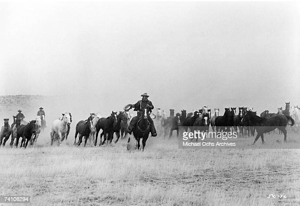 Actor John Wayne in scene from movie 'The Cowboys' directed by Mark Rydell