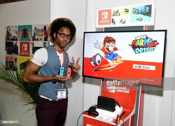 Actor Johnathan Fernandez visits the Nintendo booth at the 2017 E3 Gaming Convention at Los Angeles Convention Center on June 15 2017 in Los Angeles...