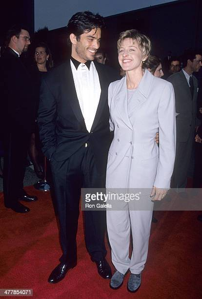 Actor Johnathon Schaech and comedienne Ellen DeGeneres attend the First Annual Screen Actors Guild Awards on February 25 1995 at Sound Stage 12...