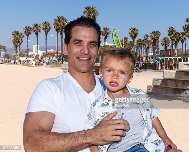 Actor Johnathon Schaech and his son Camden Quinn Schaech spend the day at the beach on March 26 2016 in Santa Monica California
