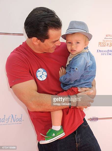 Actor Johnathon Schaech and son Camden Quinn Schaech arrive at the Milk Bookies 6th Annual Story Time Celebration at Skirball Cultural Center on...