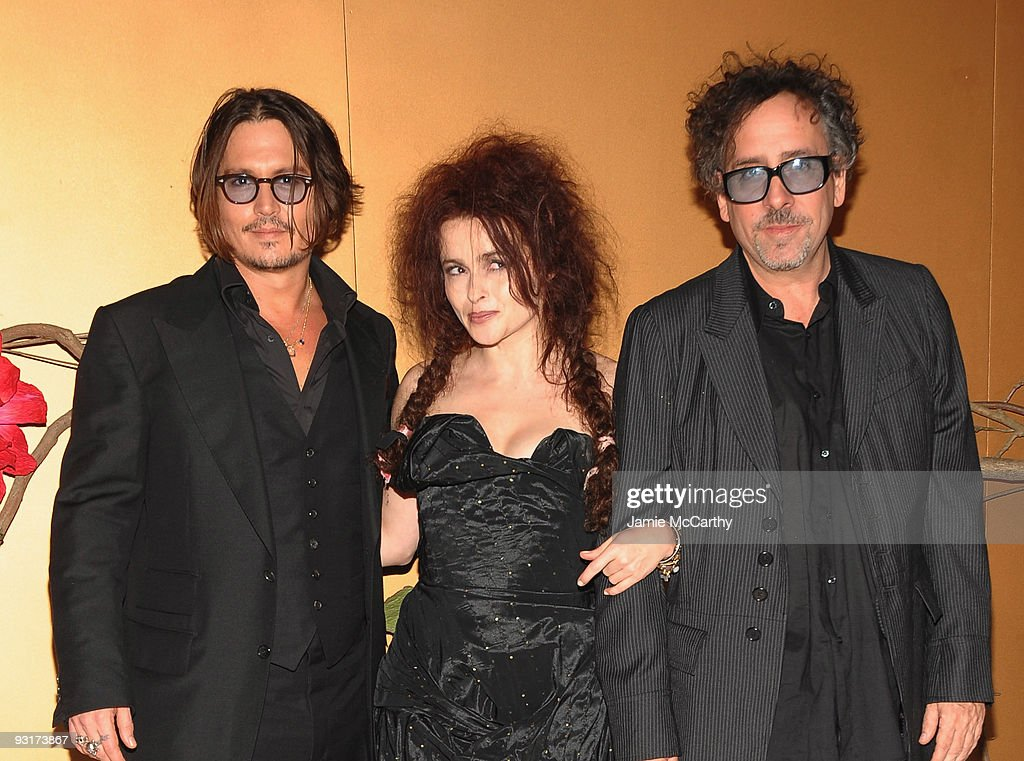 Actor Johnny Depp actress Helena Bonham Carter and director Tim Burton attend a Tribute to Tim Burton at The Museum of Modern Art on November 17 2009...